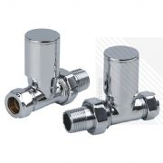 Arian Modern Straight Radiator Valves in Chrome 15mm x 1/2""